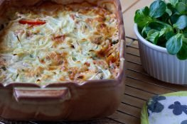 Pieczona szynka i warzywa